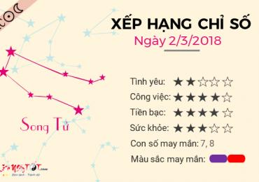 TỬ VI THỨ 6 NGÀY 02/03/2018 CỦA SONG TỬ