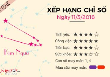 TỬ VI CHỦ NHẬT NGÀY 11/03/2018 CỦA KIM NGƯU